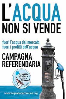 Campagna referendaria: l'Acqua non si vende