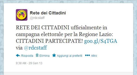 Regionali Lazio 2013 - RETE DEI CITTADINI candidata per Pino Strano presidente. Twitter